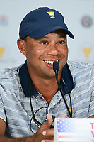 Tiger Woods (USA) speaks during round 1 player selection for the 2017 President's Cup, Liberty National Golf Club, Jersey City, New Jersey, USA. 9/27/2017.<br /> Picture: Golffile   Ken Murray<br /> <br /> <br /> All photo usage must carry mandatory copyright credit (&copy; Golffile   Ken Murray)