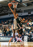 WASHINGTON, DC - JANUARY 29: Carter Collins #24 of Davidson makes a shot during a game between Davidson and George Wshington at Charles E Smith Center on January 29, 2020 in Washington, DC.