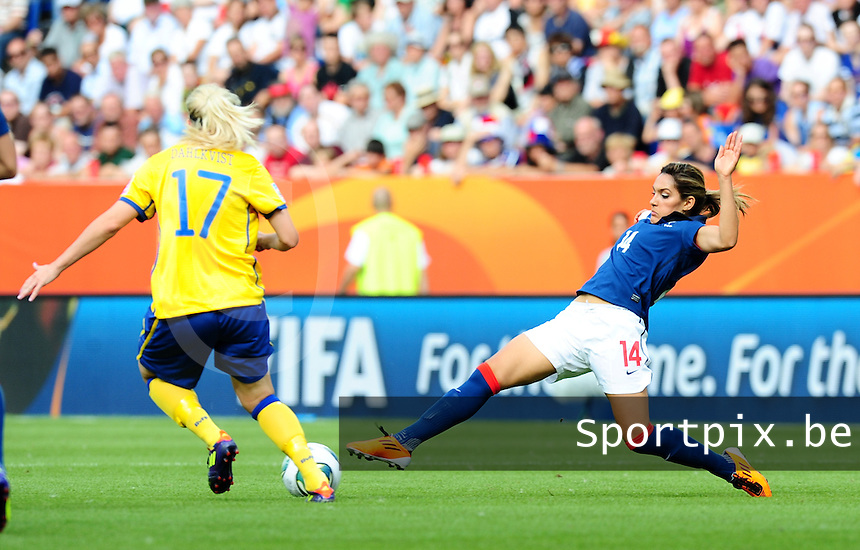 Fifa Women's World Cup Germany 2011 : Zweden - France Frankrijk at Sinsheim World Cup stadium : Louisa Necib.foto DAVID CATRY / Vrouwenteam.be
