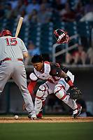 Birmingham Barons catcher Yermin Mercedes (6) retrieves the ball during a Southern League game against the Chattanooga Lookouts on May 2, 2019 at Regions Field in Birmingham, Alabama.  Birmingham defeated Chattanooga 4-2.  (Mike Janes/Four Seam Images)