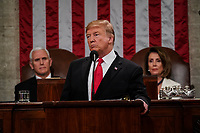 FEBRUARY 5, 2019 - WASHINGTON, DC: President Donald Trump delivered the State of the Union address, with Vice President Mike Pence and Speaker of the House Nancy Pelosi, at the Capitol in Washington, DC on February 5, 2019. <br /> Credit: Doug Mills / Pool, via CNP /MediaPunchCAP/MPI/RS<br /> &copy;RS/MPI/Capital Pictures