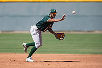 Oakland Athletics shortstop Jesus Lage (17) during a Minor League Spring Training game against the Chicago Cubs at Sloan Park on March 19, 2018 in Mesa, Arizona. (Zachary Lucy/Four Seam Images)