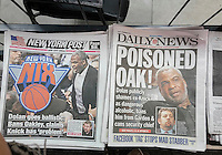The New York tabloids on Saturday, February 11, 2017 report on the altercation the former Knicks basketball player Charles Oakley had with Madison Square Garden security related to problems with MSG and Knicks owner James Dolan.  (© Richard B. Levine)
