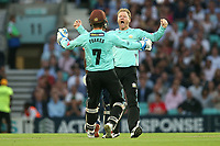 Gareth Batty of Surrey celebrates taking the wicket of Ryan ten Doeschate during Surrey vs Essex Eagles, Vitality Blast T20 Cricket at the Kia Oval on 12th July 2018