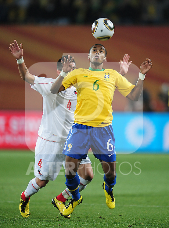 Michel Bastos during the 2010 FIFA World Cup South Africa Round of Sixteen match between Brazil and Chile at Ellis Park Stadium on June 28, 2010 in Johannesburg, South Africa.