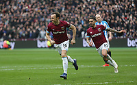 West Ham United's Mark Noble celebrates scoring his side's first goal <br /> <br /> Photographer Rob Newell/CameraSport<br /> <br /> The Premier League - West Ham United v Huddersfield Town - Saturday 16th March 2019 - London Stadium - London<br /> <br /> World Copyright © 2019 CameraSport. All rights reserved. 43 Linden Ave. Countesthorpe. Leicester. England. LE8 5PG - Tel: +44 (0) 116 277 4147 - admin@camerasport.com - www.camerasport.com