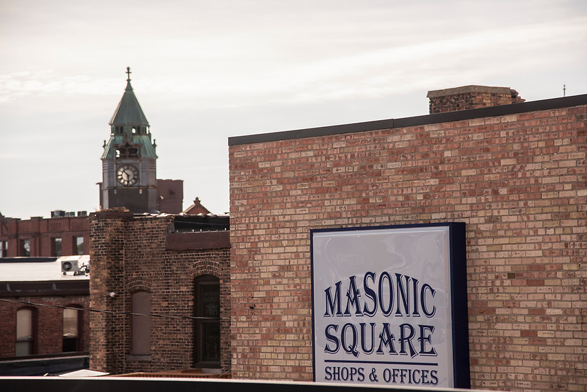 Downtown Marquette, Michigan with Savings Bank building and Masonic Square building.