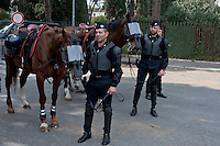 Carabineri on horseback riot outside the stadium during  the Serie A match between SS Lazio and AS Roma at Stadio Olimpico to prevent violence among the fans of the two teams on April 3, 2016 in Rome, Italy. Debut of the mounted units of the State Police and Carabinieri for public order management.
