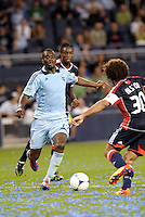 CJ Sapong, (17) Sporting KC drives at the New England goal... Sporting Kansas City defeated New England Revolution 3-0 at LIVESTRONG Sporting Park, Kansas City, Kansas.