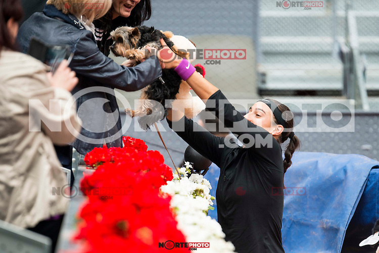 French Caroline Garcia with her dog during Doubles Woman Final Mutua Madrid Open Tennis 2016 in Madrid, May 07, 2016. (ALTERPHOTOS/BorjaB.Hojas) /NortePhoto.com