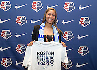 #21 overall pick Jazmine Reeves of the Boston Breakers poses during the NWSL draft at the Pennsylvania Convention Center in Philadelphia, PA, on January 17, 2014.