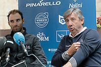 Alejandro Valverde (l) and Eusebio Unzue, General Manager of Movistar Cycling Team in press conference during the second day of rest of La Vuelta 2012.September 4,2012. (ALTERPHOTOS/Acero) /NortePhoto.com<br /> <br /> **CREDITO*OBLIGATORIO** <br /> *No*Venta*A*Terceros*<br /> *No*Sale*So*third*<br /> *** No*Se*Permite*Hacer*Archivo**<br /> *No*Sale*So*third*