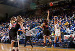 BROOKINGS, SD - MARCH 16:  Sydney Tracy #33 from South Dakota State University shoots over Janae Poisson #22 from Northern Illinois during their first round WNIT game Thursday at Frost Arena in Brookings.(Photo by Dave Eggen/Inertia)