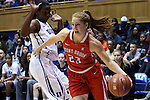 28 November 2014: Stony Brook's Kim Hanlon (23) and Duke's Elizabeth Williams (left). The Duke University Blue Devils hosted the Stony Brook University Seahawks at Cameron Indoor Stadium in Durham, North Carolina in a 2014-15 NCAA Division I Women's Basketball game. Duke won the game 72-42.