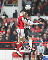Nottingham Forest's Ben Brereton in action with Derby County's Craig Forsyth<br /> <br /> Photographer Mick Walker/CameraSport<br /> <br /> The EFL Sky Bet Championship - Nottingham Forest v Derby County - Sunday 11th March 2018 - The City Ground - Nottingham<br /> <br /> World Copyright &copy; 2018 CameraSport. All rights reserved. 43 Linden Ave. Countesthorpe. Leicester. England. LE8 5PG - Tel: +44 (0) 116 277 4147 - admin@camerasport.com - www.camerasport.com