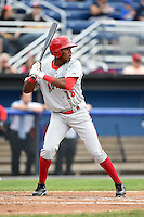 Auburn Doubledays first baseman Diomedes Eusebio (18) at bat during a game against the Batavia Muckdogs on June 16, 2014 at Dwyer Stadium in Batavia, New York.  Batavia defeated Auburn 4-3.  (Mike Janes/Four Seam Images)