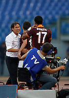 Calcio, Serie A: Roma vs Hellas Verona. Roma, stadio Olimpico, 1 settembre 2013.<br /> AS Roma midfielder Miralem Pjanic, of Bosnia, top center, partially seen, is congratulated by coach Rudi Garcia, of France, left, after scoring during the Italian Serie A football match between AS Roma and Hellas Verona at Rome's Olympic stadium, 1 September 2013. AS Roma won 3-0.<br /> UPDATE IMAGES PRESS/Isabella Bonotto