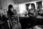 Kathleen Church, left, and a friend are concerned about a squatter moving into the park that was convicted of kidnapping and raping Church years ago. With no management and little police presence, Andina Village trailer park has become a haven for criminals.