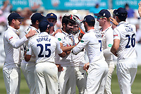 Mohammad Amir of Essex celebrates taking the wicket of Nick Gubbins in his first over during Essex CCC vs Middlesex CCC, Specsavers County Championship Division 1 Cricket at The Cloudfm County Ground on 26th June 2017