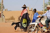 MALI, Dogonland Bandiagara , peulh man with goats