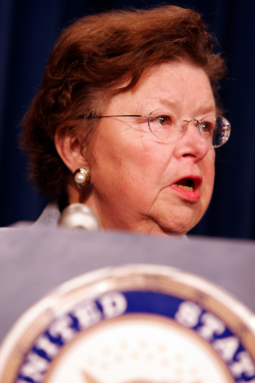 """Maryland Senator Barbara Mikulski announces a proposal by her and 26 of her Democratic Senators to call on President Bush to convene a summit with oil and gas CEOs on October 6th. They are urging the President to stress the importance of the industry leaders to """"be good corporate citizens by reducing their prices"""" . Prices at the pumps have ballooned to over three dollars a gallon throughout most of the country."""
