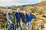 The Caherdaniel Dark Skies Committee pictured here on part of the Kerry Way with Derrynane in the background which will be part of their 9 Planet scaled Solar System Walk from Caherdaniel to Coad Cemetery pictured here l-r;  Kay O'Connor(Sec.), Traolach Sweeney(Treasurer), Michael Sheehan & Helen Wilson(Chairperson), .