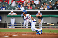 Tennessee Smokies left fielder Charcer Burks (3) swings at a pitch during a game against the Birmingham Barons at Smokies Stadium on May 15, 2019 in Kodak, Tennessee. The Smokies defeated the Barons 7-3. (Tony Farlow/Four Seam Images)