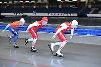 SCHAATSEN: HEERENVEEN: 17-06-2014, IJsstadion Thialf, Zomerijs training, Team Corendon, Jan Blokhuijsen, Renz Rotteveel, Sjoerd de Vries, ©foto Martin de Jong