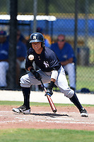 GCL Yankees 2 outfielder Jose Augusto Figueroa (33) lays down a bunt attempt during a game against the GCL Blue Jays on July 2, 2014 at the Bobby Mattick Complex in Dunedin, Florida.  GCL Yankees 2 defeated GCL Blue Jays 9-6.  (Mike Janes/Four Seam Images)