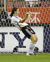 German forward (9) Birgit Prinz celebrates a goal. Germany (GER) defeated Brazil 2-0 in the finals of the Women's World Cup China 2007 at Shanghai Hongkou Football Stadium, Shanghai, China, on September 30, 2007.