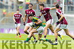 Dara Moynihan Kerry in action against Robert Finnerty  Galway in the All Ireland Minor Football Final in Croke Park on Sunday.