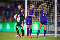 Orlando, FL - Saturday March 24, 2018: Orlando Pride goalkeeper Ashlyn Harris (24) walks off as Shelina Zadorsky (4) speaks to Dani Weatherholt (17) during a regular season National Women's Soccer League (NWSL) match between the Orlando Pride and the Utah Royals FC at Orlando City Stadium. The game ended in a 1-1 draw.