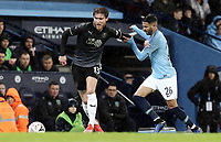 Burnley's Jeff Hendrick holds off the challenge from Manchester City's Riyad Mahrez<br /> <br /> Photographer Rich Linley/CameraSport<br /> <br /> Emirates FA Cup Fourth Round - Manchester City v Burnley - Saturday 26th January 2019 - The Etihad - Manchester<br />  <br /> World Copyright © 2019 CameraSport. All rights reserved. 43 Linden Ave. Countesthorpe. Leicester. England. LE8 5PG - Tel: +44 (0) 116 277 4147 - admin@camerasport.com - www.camerasport.com