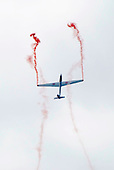 Swift aerobatic team glider display at the Farnborough International Airshow .