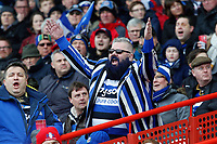 A Bath Rugby supporter in the crowd celebrates a try. Anglo-Welsh Cup Final, between Bath Rugby and Exeter Chiefs on March 30, 2018 at Kingsholm Stadium in Gloucester, England. Photo by: Matt Impey / Wired Photos for Onside Images