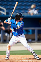 Biloxi Shuckers right fielder Clint Coulter (12) at bat during a game against the Jackson Generals on April 23, 2017 at MGM Park in Biloxi, Mississippi.  Biloxi defeated Jackson 3-2.  (Mike Janes/Four Seam Images)