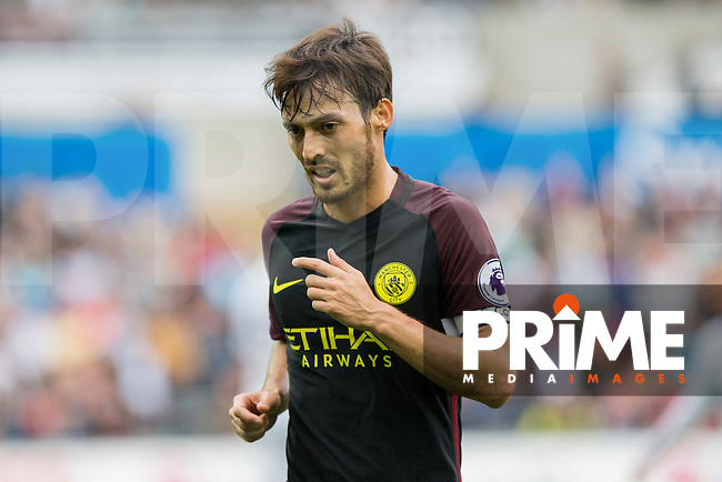 David Silva of Manchester City during the EPL - Premier League match between Swansea City and Manchester City at the Liberty Stadium, Swansea, Wales on 24 September 2016. Photo by Mark  Hawkins.
