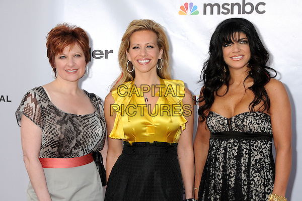 "CAROLINE MANZO, DINA MANZO & TERESA GIUDICE.The Cable Show 2010 ""An Evening with NBC Universal"" held at Universal Studios Hollywood, Universal City, California, USA..May 12th, 2010.half length grey gray black print beige skirt red pink belt yellow silk satin blouse shirt black high waisted skirt lace cleavage leggings.CAP/ADM/BP.©Byron Purvis/AdMedia/Capital Pictures."