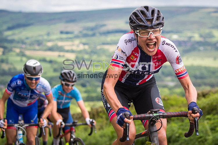 Picture by Alex Whitehead/SWpix.com - 08/06/2017 - Cycling - OVO Energy Women's Tour - Stage 2: Stoke-on-Trent - Hitec Products' Vita Heine climbs Gun Hill.