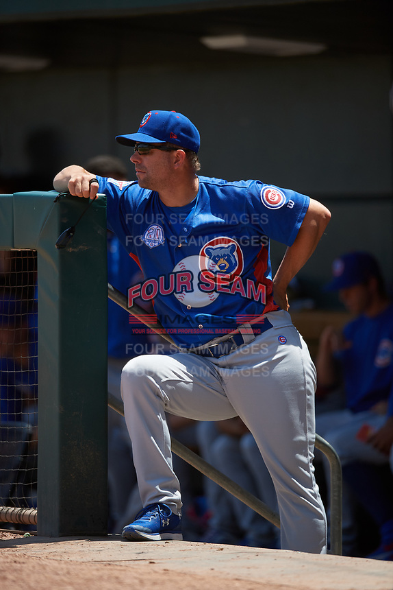 Tennessee Smokies coach Chad Allen (24) during a Southern League game against the Jacksonville Jumbo Shrimp on April 29, 2019 at Baseball Grounds of Jacksonville in Jacksonville, Florida.  Tennessee defeated Jacksonville 4-1.  (Mike Janes/Four Seam Images)