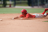Philadelphia Phillies Dalton Guthrie (4) slides into second base during an Instructional League game against the Atlanta Braves on October 9, 2017 at the Carpenter Complex in Clearwater, Florida.  (Mike Janes/Four Seam Images)