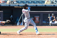 Scottsdale Scorpions left fielder Desmond Lindsay (1), of the New York Mets organization, follows through on his swing during an Arizona Fall League game against the Peoria Javelinas at Peoria Sports Complex on October 18, 2018 in Peoria, Arizona. Scottsdale defeated Peoria 8-0. (Zachary Lucy/Four Seam Images)
