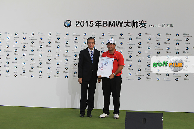 Patrick Reed (USA) receives his runner-up prize at the presentation ceremony of the BMW Masters at Lake Malaren Golf Club in Boshan, Shanghai, China on Sunday 15/11/15.<br /> Picture: Thos Caffrey | Golffile<br /> <br /> All photo usage must carry mandatory copyright credit (&copy; Golffile | Thos Caffrey)