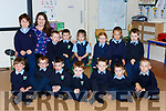 Katie Murphy with her junior infants on their first day of school in Tiernaboul NS on Thursday front row l-r: Cathal McGillicuddy, Ryan CAsey,Jack kissane, Noah Murphy, Darragh Kearney, Jamie Downey, DominickVirkutus. Back row: william Collins, Adam Griffin, Timothy O'sullivan, Anabelle Casey, Aoife Foley, Ailbhe Claffey, Ted Sheahan