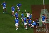 16th June 2017, Eden Park, Auckland, New Zealand; International Rugby Pasifika Challenge; New Zealand versus Samoa;  Referee Mathieu Raynal makes a call against the All Blacks