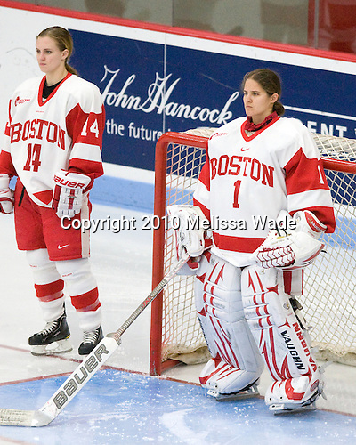 Shannon Mahoney (BU - 14), Kerrin Sperry (BU - 1) - The Boston University Terriers defeated the visiting Clarkson University Golden Knights 3-2 on Saturday, October 23, 2010, at Walter Brown Arena in Boston, Massachusetts.