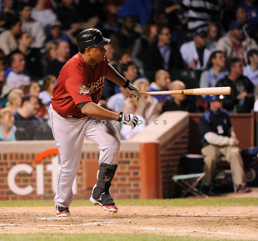 CARLOS LEE, of the Houston Astros, in action during the Astros game against the Chicago Cubs at Wrigley Field on September 8, 2010  in Chicago, IL...Astros beat the Cubs 4-0.