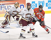 Cory Schneider, Brian Boyle, Dennis McCauley - The Boston College Eagles defeated the Northeastern University Huskies 5-2 in the opening game of the 2006 Beanpot at TD Banknorth Garden in Boston, MA, on February 6, 2006.