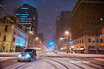 Snowy Main Street in Downtown Dayton at night