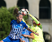 Allston, MA - Saturday August 19, 2017: Julie King, Ashlyn Harris during a regular season National Women's Soccer League (NWSL) match between the Boston Breakers (blue) and the Orlando Pride (white/light blue) at Jordan Field.